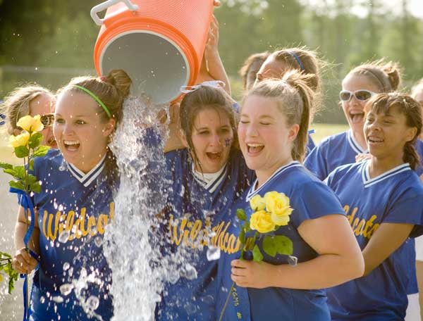 Girls Winning Softball Celebration