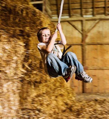 Boy on Swing in Barn
